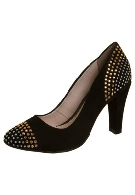 Sapato Scarpin Biqueira Traseiro Hotfix Bicolor Preto - Bott...