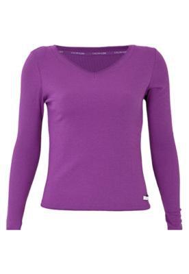 Blusa Pijama Calvin Klein Decote V Roxa - Calvin Klein Under...