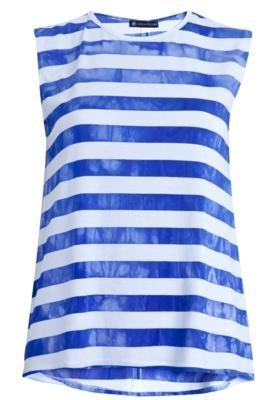 Blusa Regata Anna Flynn Unic Listras Branca e Azul