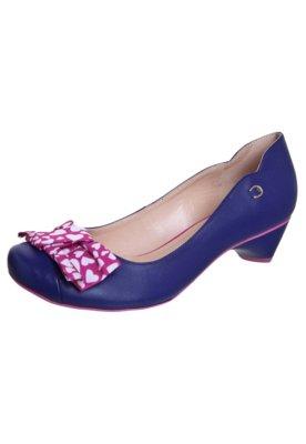 Sapato Scarpin Cristófoli Salto Baixo Laço Divertido Azul