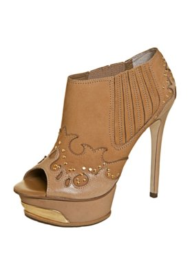 Ankle Boot Dumond Recortes Tachas Bege