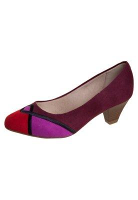 Sapato Scarpin Beira Rio Bordado Geométrico Vinho