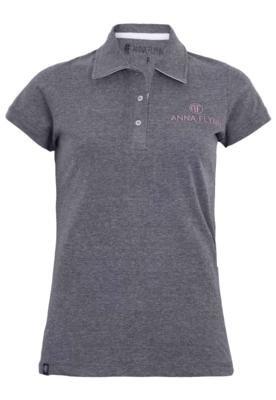 Camisa Polo Anna Flynn Bordado Cinza