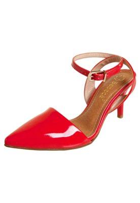 Sapato Scarpin Bebecê Semi Aberto Pulseira Vermelho