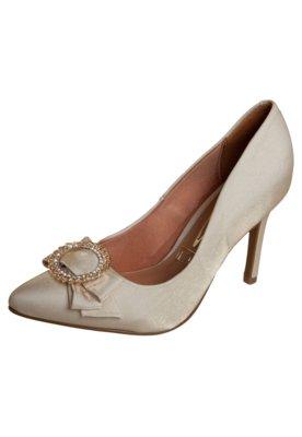 Sapato Scarpin Vizzano Salto Médio Laço Duplo Dourado