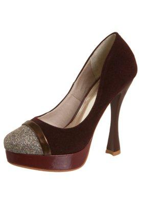 Sapato Scarpin Glitter Veludo Vinho - NightStar