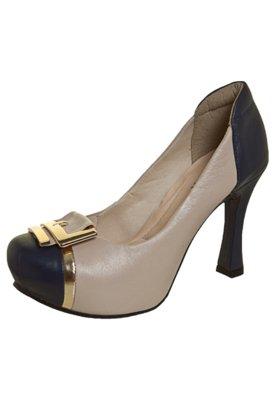 Sapato Scarpin Dayflex Pata Embutida Fivela Nude/Azul