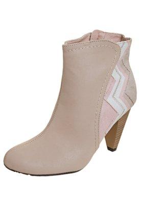Ankle Boot Moleca Estampado Bege