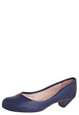 Sapato Scarpin Moleca Salto Baixo Básico Azul