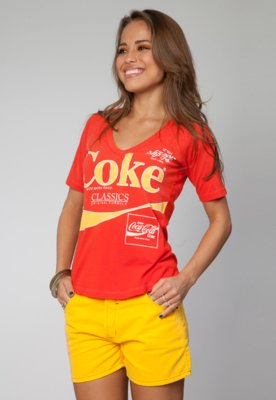 Blusa Slim Coca Cola Stamp Laranja - Coca Cola Clothing