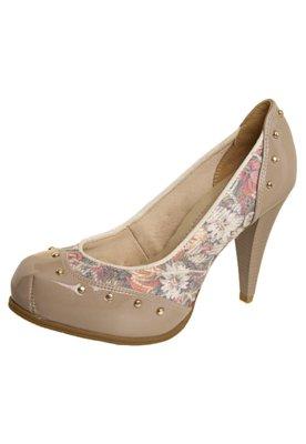 Sapato Scarpin Recorte Cravos Bege - Bebecê