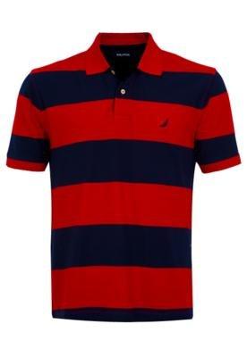 Camisa Polo Nautica Raies Vermelha