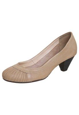 Sapato Scarpin Bottero Salto Baixo Pregas Bege