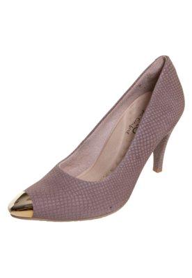 Sapato Scarpin Malu Super Comfort Cap Toe Bege