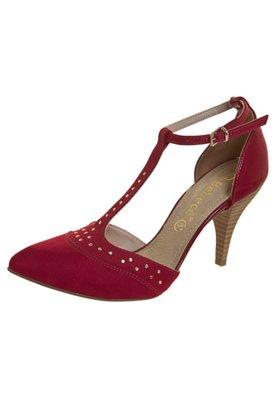 Sapato Scarpin Salomé Bico Fino Vermelho - Bebecê