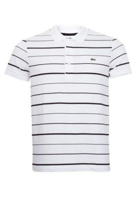 Camisa Polo Lacoste Striped Branca