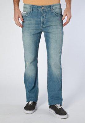 Calça Jeans Calvin Klein Jeans Reta Puídos Azul