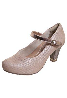 Sapato Scarpin Comfortflex Salto Amortecedor Mary Jane Nude