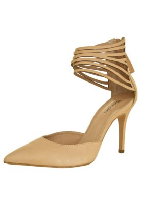 Sapato Scarpin Biondini Bico Fino Gladiador Bege