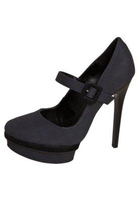 Sapato Scarpin Anna Flynn Textura Fivela Azul