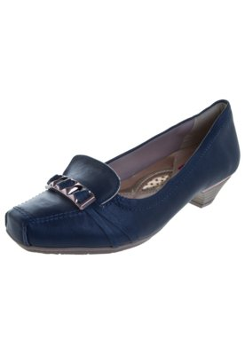 Sapato Scarpin Confortflex Salto Baixo Fivela Azul - Comfort...