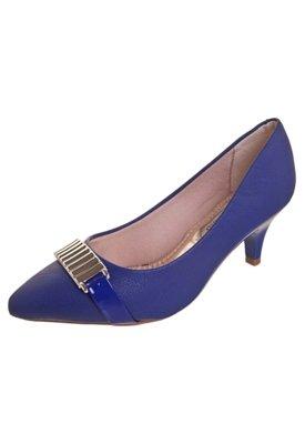 Sapato Scarpin Beira Rio Tira com Ferragem Azul