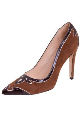 Sapato Scarpin Luiza Barcelos Recortes Country Marrom