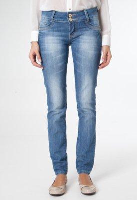Calça Jeans Sawary Skinny Bordados Azul