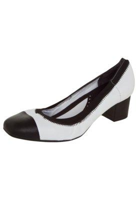 Sapato Scarpin Usaflex Bicolor Salto Bloco Elástico Branco