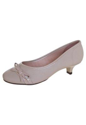 Sapato Scarpin Moleca Salto Baixo Laço Bege