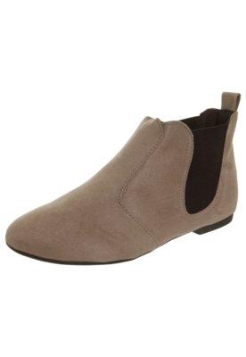 Ankle Boot Moleca Elástico Bege