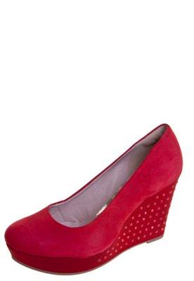 Sapato Scarpin Dakota Anabela Hot Fix Vermelho