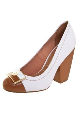 Sapato Scarpin Vizzano Salto Grosso Logo Branco