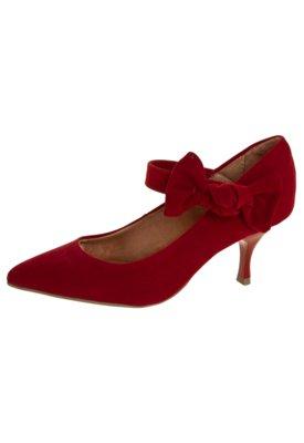 Sapato Scarpin Bico Fino Salto Baixo Mary Jane Laço Vinho -...