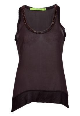 Blusa Espaço Fashion Bordado Marrom