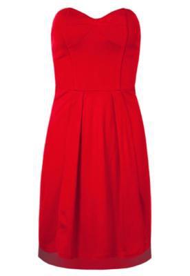 Vestido Triton Reto Pregas Vermelho