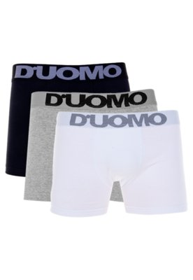 Kit 3 Cuecas Duomo Boxer Basic Preto/Branco/Cinza