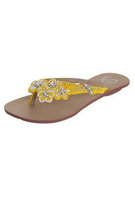 Sandália Rasteira Idarro Buque Flores Bordadas Amarela