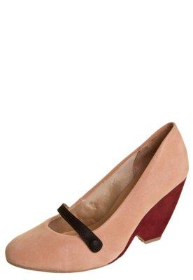 Sapato Scarpin Di Cristalli Salto Médio Tira Botão Rosa