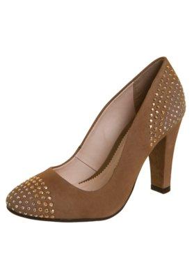 Sapato Scarpin Biqueira Traseiro Hotfix Bicolor Bege - Botte...