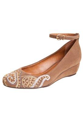 Sapato Scarpin Andarella Anabela Pulseira Bordado Tachas Mar...