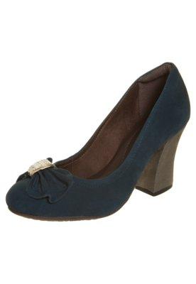 Sapato Scarpin Dayflex Salto Grosso com Metal Azul