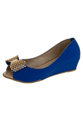 Sapato Scarpin Anna Flynn Laço Azul