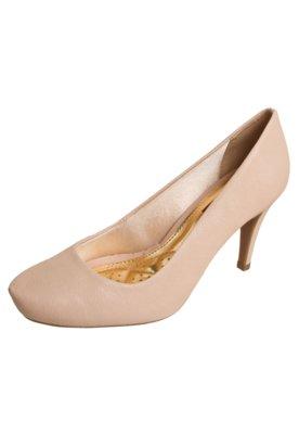 Sapato Scarpin Azaleia Bico Redondo Bege