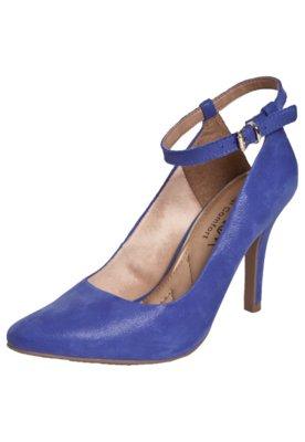Sapato Scarpin Ramarim Fio Metalizado Azul