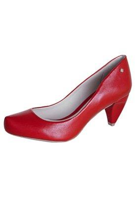 Sapato Scarpin Capodarte Bico Tubarão Salto Baixo Vermelho