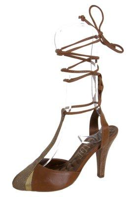 Sapato Scarpin Orcade Amarração Perna Marrom