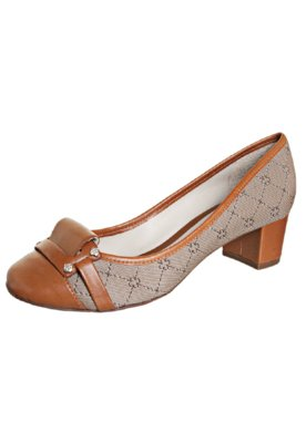 Sapato Scarpin Salto Baixo Jacquard Monograma Bege - Capodar...