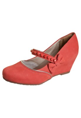 Sapato Scarpin Dakota Anabela Mary Jane Laço Coral