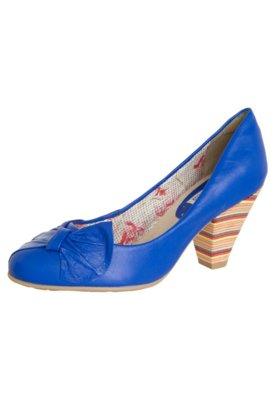 Sapato Scarpin Bottero Salto Colorido Médio Leque Azul